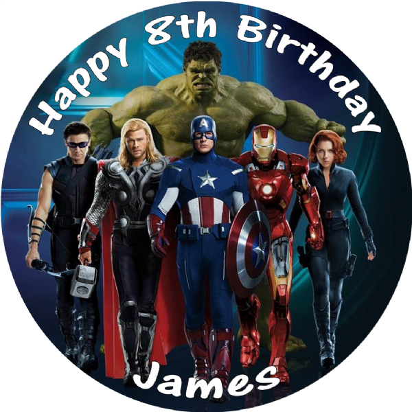 AVENGERS ASSEMBLE EDIBLE ROUND BIRTHDAY CAKE PERSONALISED DECORATION